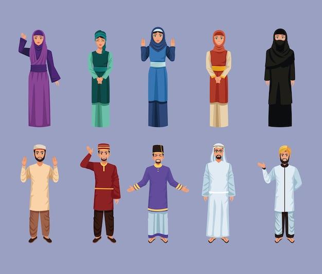 Tien moslim personen