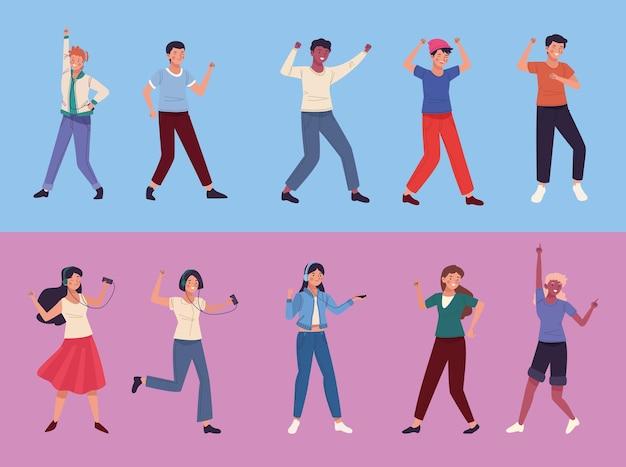 Tien personen dansen