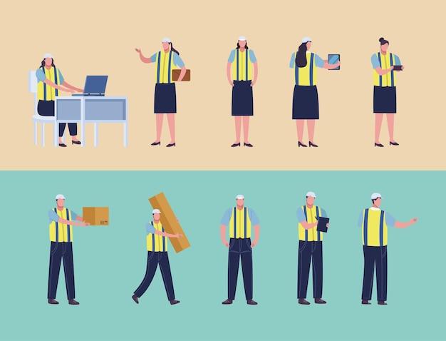 Tien productiearbeiders