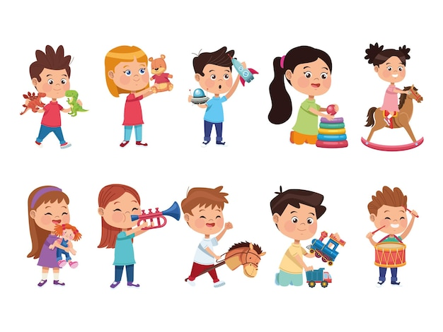 Tien spelende kinderen