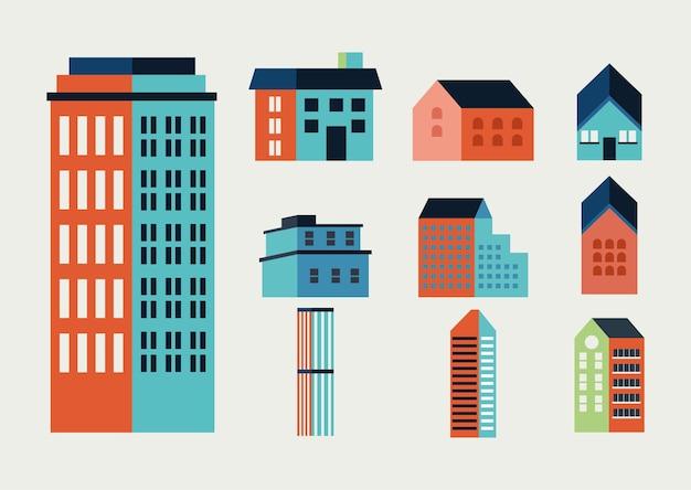 Tien stadsgebouwen minimale pictogrammen