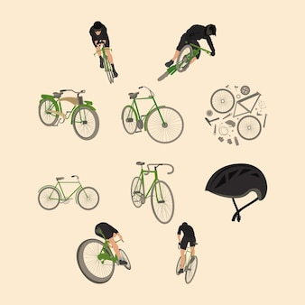 Tien wielersport set iconen
