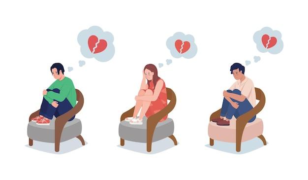 Tiener boos over liefde semi-egale kleur vector tekenset. zittend figuur. volledige lichaamsmensen op wit. verbreek geïsoleerde moderne cartoonstijlillustratie voor grafisch ontwerp en animatiecollectie