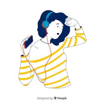 Tiener die aan muziek in koreaanse tekeningsstijl luistert