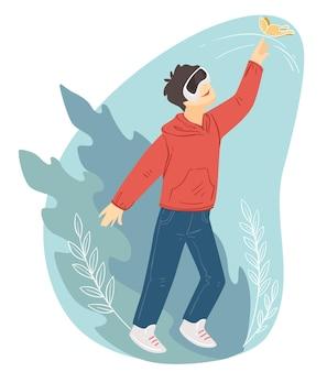 Tiener die een bril van virtual reality draagt. mannelijk personage in vr-spellen. moderne gadgets en technologieën voor recreatie en plezier voor kinderen. kind kijken naar realistische video's. vector in plat