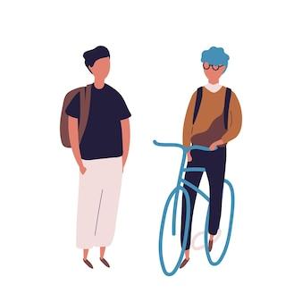 Tiener gekleed in schooluniform ontmoet zijn vriend op de fiets of fiets. paar studenten, leerlingen, klasgenoten of schoolgenoten geïsoleerd op een witte achtergrond. platte cartoon vectorillustratie.