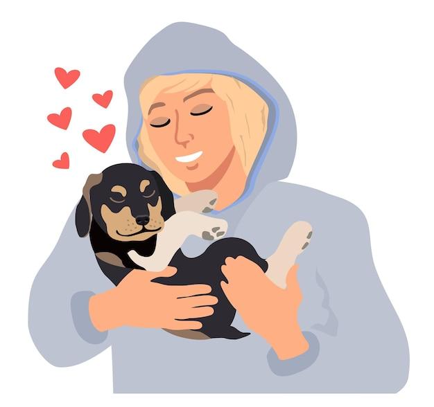 Tiener huisdier vriend cartoon jongeman knuffelen schattige puppy met zorg en liefde gezellig ontspannen