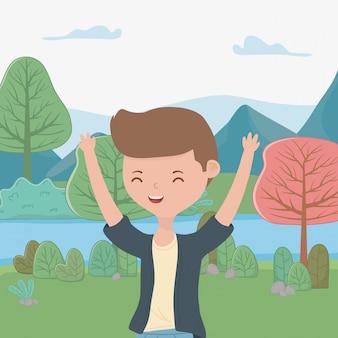 Tiener jongen cartoon