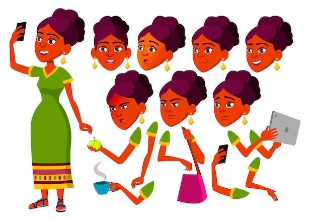 Tiener meisje karakter. indian. creatie constructor voor animatie. gezichtsemoties, handen.