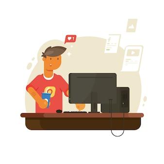Tiener met behulp van sociale media, netwerk met computer