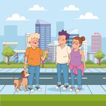 Tiener met een hond en zwaaiende vrienden in de straat