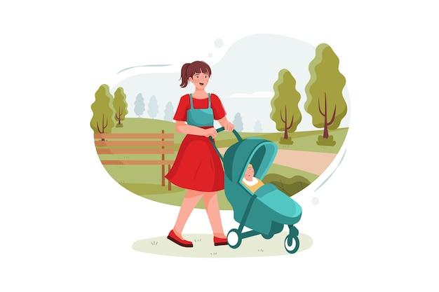 Tiener nanny met schattige baby in wandelwagen spelen in park