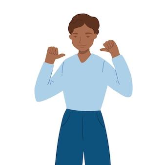 Tiener staat en wijst met duimen op zichzelf. jonge kerel die handgebaar maakt en positieve ematies uitdrukt. concept van aanvaarding en begrip. platte cartoon illustratie