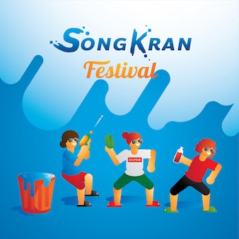 Tienergroep die in songkran-festival dansen