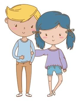 Tienerjongen en meisje van cartoon