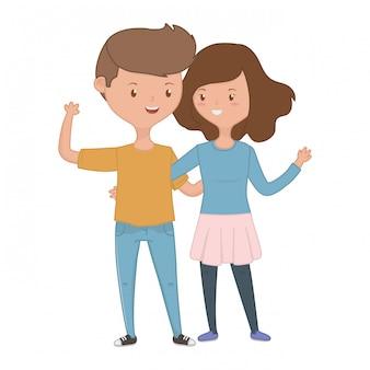 Tienerjongen en meisjesbeeldverhaal