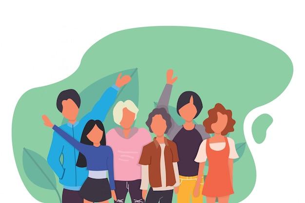 Tienerjongens en -meisjes of schoolvrienden staan samen