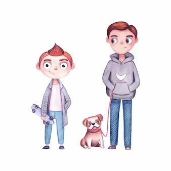 Tienerjongens op een wandeling. stripfiguren met een skateboard en een hond