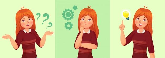 Tienermeisje denkt, verwarde jonge vrouwelijke tiener, nadenkende studente en het beantwoorden van vraagbeeldverhaal