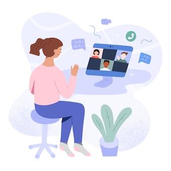 Tienermeisje die online via videoconferentie bestuderen met haar klasse, illustratie
