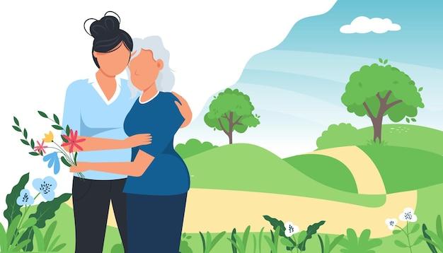 Tienermeisje haar moeder buiten in de natuur knuffelen op zonnige dag.