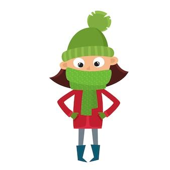 Tienermeisje in rode jas en groene sjaal in cartoon-stijl