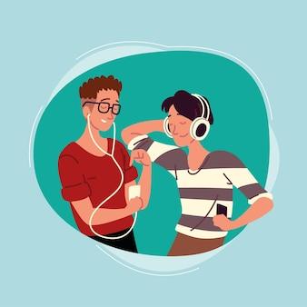 Tieners die naar muziek luisteren