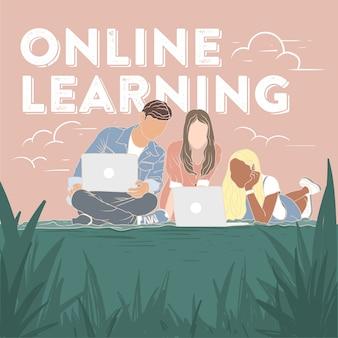 Tieners die online leren
