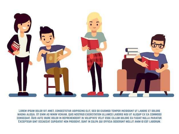Tieners en studenten met boeken die op wit worden geïsoleerd - jonge mensen die concept lezen