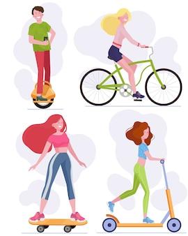 Tieners met behulp van stedelijke voertuigen ingesteld