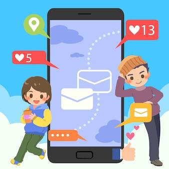 Tieners met mobiel sociaal chat online