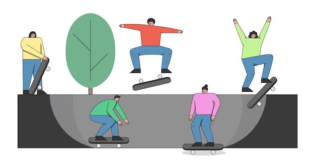 Tieners skateboarders skateboard rijden