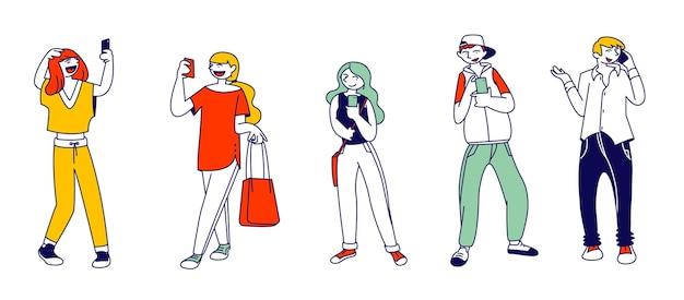 Tieners smartphone verslaving concept. cartoon vlakke afbeelding