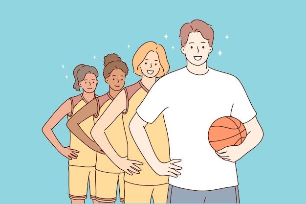 Tieners staan samen met man coach karakter
