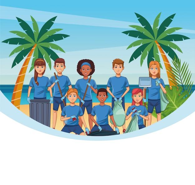 Tieners strand schoonmaken
