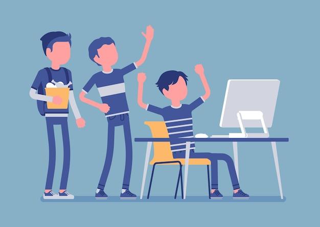Tienerspret bij computerillustratie