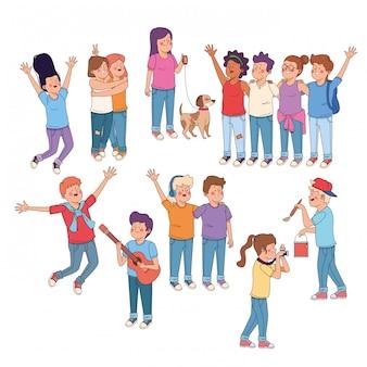 Tienersvrienden die pretbeeldverhalen hebben