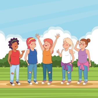 Tienersvrienden in de parkbeeldverhalen