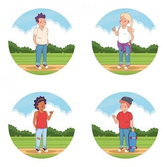 Tienervrienden bij parkbeeldverhalen