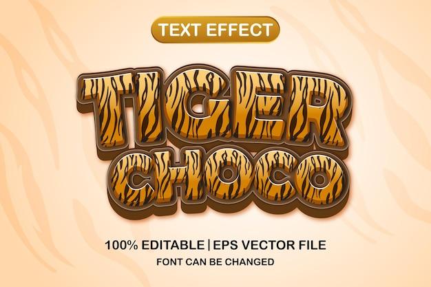 Tiger choco 3d bewerkbaar teksteffect