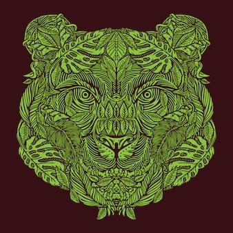 Tiger head wildlife animal met forest jungle elements pattern