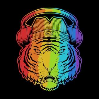 Tiger hoofdtelefoon kleurrijke illustratie