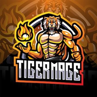 Tiger mage esport mascotte logo ontwerp