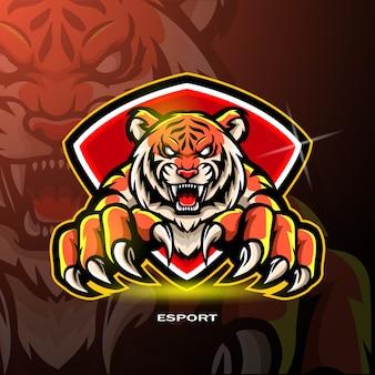 Tiger-mascotte voor gaming-logo.
