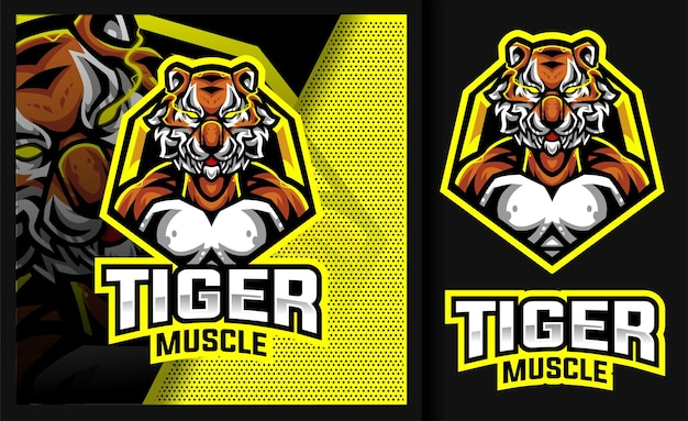 Tiger mucle sport mascot-logo