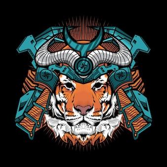 Tiger samurai met oorlogshelm gedetailleerd vectorillustratieontwerp