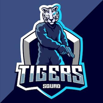 Tiger squad esport logo ontwerp