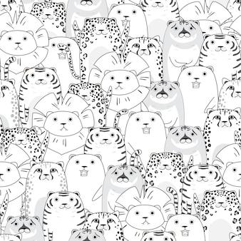 Tigers en katten cartoon naadloze patroon