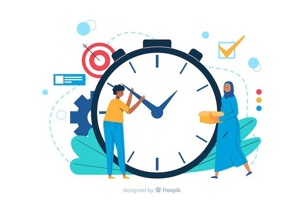 Tijd beheer bestemmingspagina illustratie