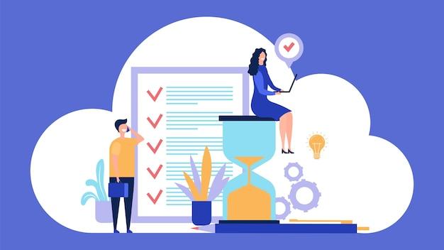 Tijd beheer concept. doeltreffend management. illustratie van het werkproces organiseren. tijdmanagementproductiviteit, projectprocesbeheersing
